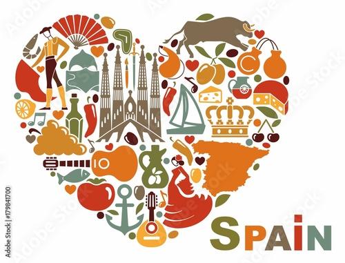 Fototapety, obrazy: The symbols of Spain in heart shape