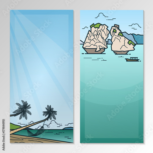 Papiers peints Piscine Nature landscape with rocks in the sea, hammock and seashore. Brochure template layout.