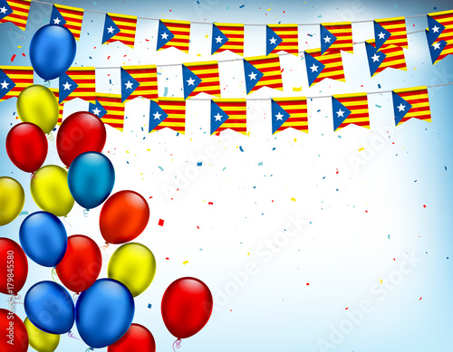Colorful Festive Garlands Of Catalonia Flag And Air Balloons