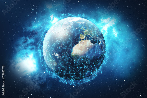 Fototapety, obrazy: 3D rendering Network and data exchange over planet earth in space. Connection lines Around Earth Globe. Global International Connectivity. Elements of this image furnished by NASA