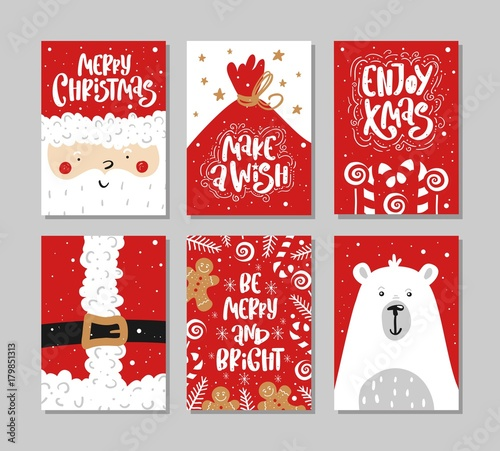 vector merry christmas and happy new year greeting card set with calligraphy hand drawn design