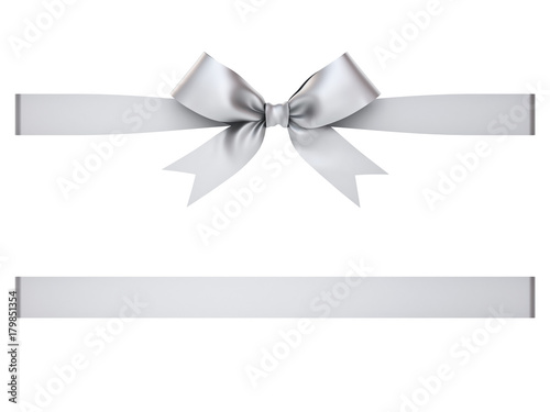Fotografia  Silver gift ribbon bow isolated on white background