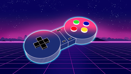 retro game controller on co...