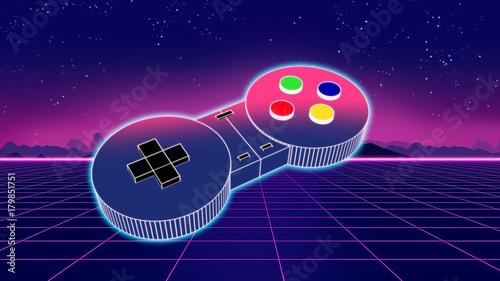 retro game controller on co...