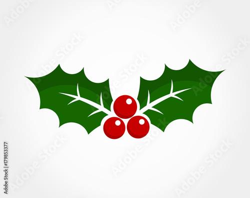 Fototapeta Christmas holly berry icon