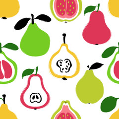 Panel Szklany Owoce Brush Grunge Exotic Fruits Seamless Pattern.