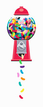 Colorful Shapes Falling From Gumball Machine