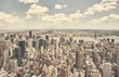 Retro toned aerial picture of New York City skyline, USA.