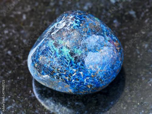 polished Azurite gemstone on dark background Canvas Print
