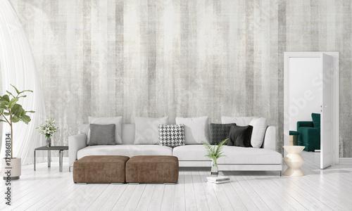 Modern Interior Design Of Livingroom In Vogue With Plant Grey Divan Amazing Vogue Interior Design Set