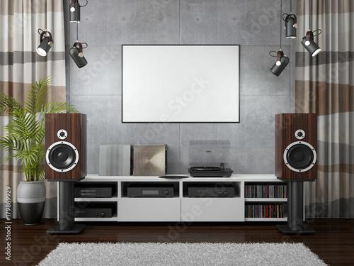 3d rendering of hi-fi room Canvas Print