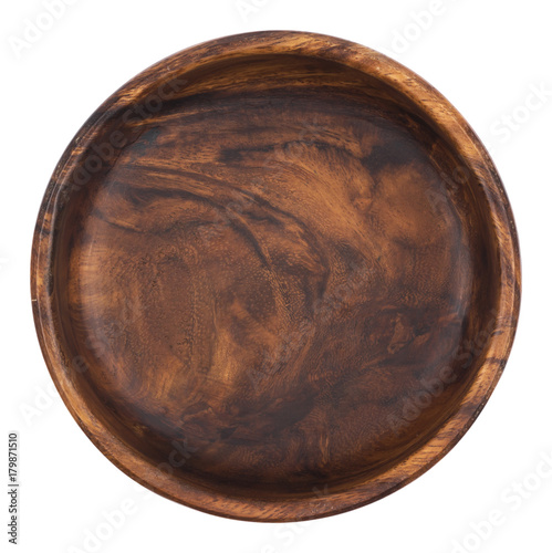 Empty wooden bowl isolated on white background. Top view Canvas Print