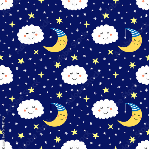 Cotton fabric Cute seamless pattern with funny cartoon characters of sleeping moon, stars and clouds