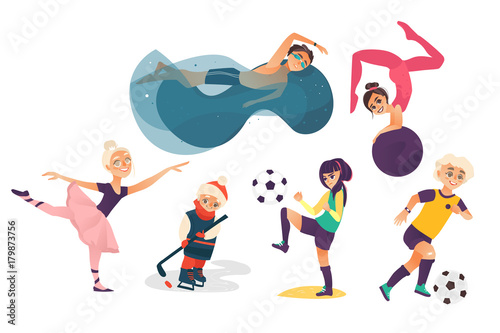 Vector Cartoon Kids Doing Sports Set Isolated Girl Playing Football Another Doing Stretching Gymnastics Exercise With Ball Ballerina Dancing Boys Swimming In Pool Playing Ice Hockey And Football Buy This Stock