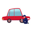 vector flat cartoon funny young man, boy mechanic in blue uniform replacing tire of red sedan car. Male full lenght portrait caucasian character isolated, illustration on a white background