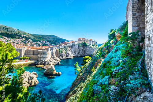 Aluminium Prints Blue Dubrovnik Adriatic Sea landscape. / Aerial view at historical town Dubrovnik in Croatia, world's famous travel place, Adriatic Sea.