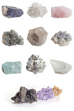 Collage Of Minerals On White B...