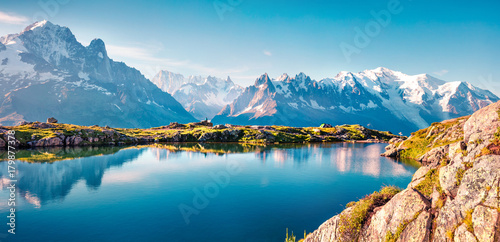 Colorful summer panorama of the Lac Blanc lake with Mont Blanc (Monte Bianco) on background, Chamonix location