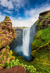 FototapetaFantastic vertical view of Skogafoss Waterfall on Skoga river
