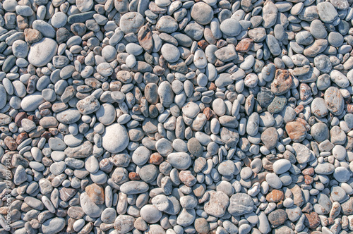 Detail Of Stone Beach In Greece Made Small Pebble Texture