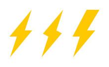 Set Of Three Lightning Bolt Ic...