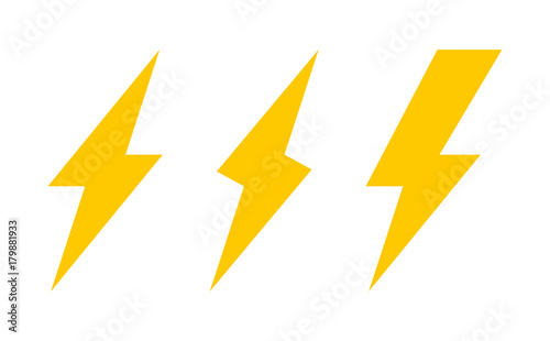 Fotomural  Set of three lightning bolt icons