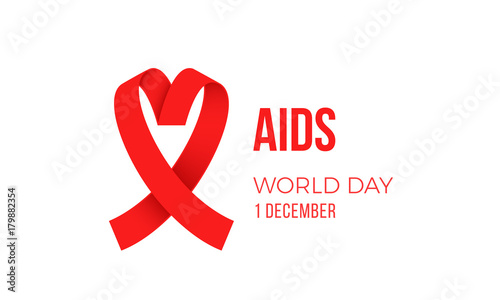 World Aids Day Red Ribbon Logo Symbol Poster For 1 December