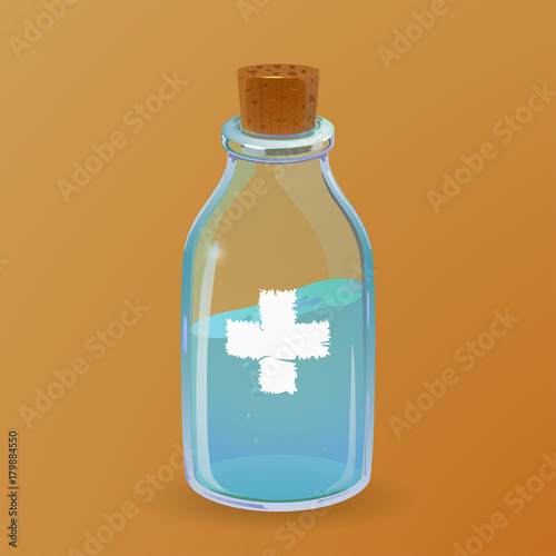 Photo Healing potion bottle. Cartoon style