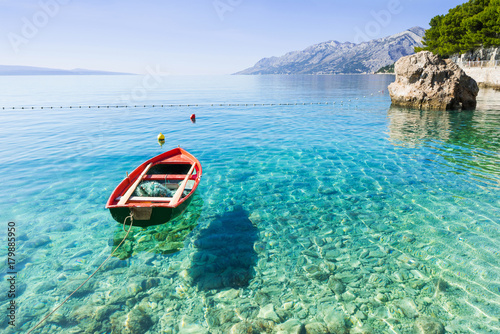 Door stickers Blue Beautiful bay near Brela town, Makarska rivera, Dalmatia, Croatia