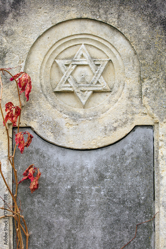 Fotografie, Obraz  Jewish Headstone flowers stone symbol embem background cemetery old granit marbl