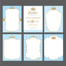 A Set Of Cute Blue Templates For Invitations. Vintage Gold Frame With Crown. A Little Prince Party. Baby Shower, Wedding, Birthday Invite Card. Can Be Used For Printing In A5 Paper.