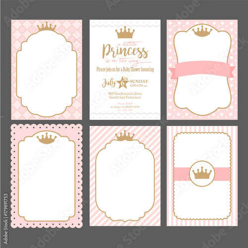 Fotografie, Obraz  A set of cute pink templates for invitations