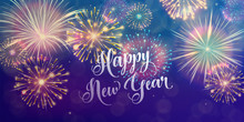 Happy New Year Holiday Background. Seasons Greetings, Fireworks Design Concept