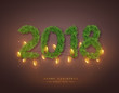 2018 numeric from fir branches and glossy garland. Christmas background, holiday concept with glowing lights. Vector illustration.