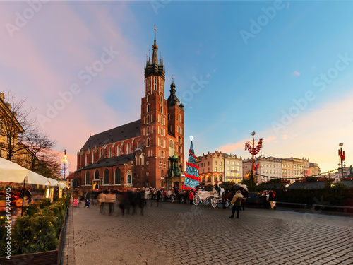 Fototapeta Market Square Rynek decorated by the christmas lights obraz