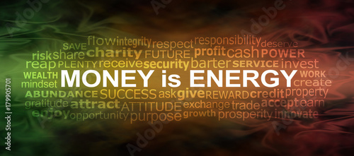 Fototapeta Money IS energy Word Cloud Banner - a green gold and red flowing energy formation background with a MONEY IS ENERGY word cloud 