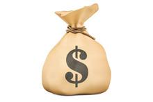 Money Bag With Dollars, 3D Ren...