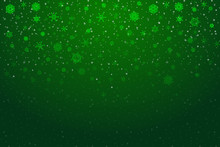 Christmas Snow. Falling Snowflakes On Bright Green Background. Snowfall. Vector Illustration, Eps 10.