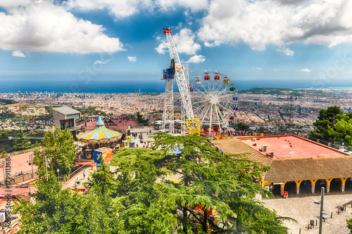 Papiers peints Attraction parc Aerial view from Tibidabo mountain over Barcelona, Catalonia, Spain