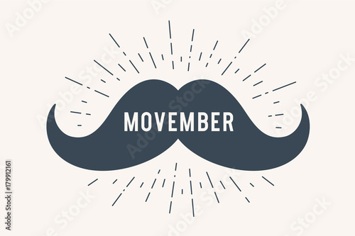 Photo  Poster and banner with text Movember and mustache