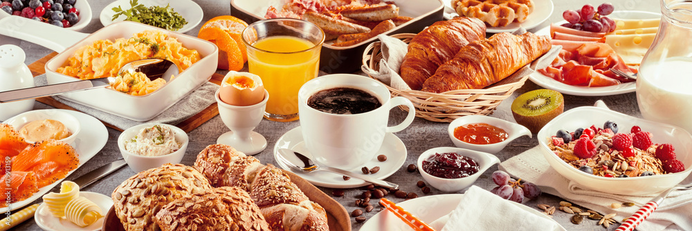 Fototapety, obrazy: Breakfast with coffee surrounded by various food