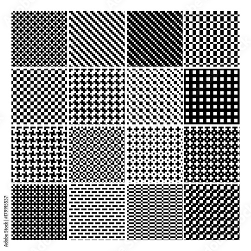 Black and White Geometric Pattern Set - Abstract Vector Old-Fashioned Motif Canvas Print