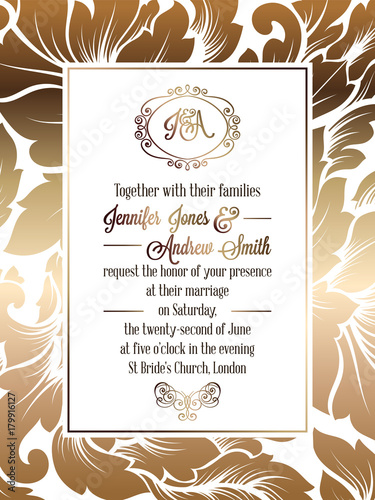 Fototapety, obrazy: Vintage baroque style wedding invitation card template.