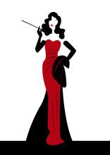 Shop Logo Fashion Woman, Red Silhouette Diva. Company Logo Design, Beautiful Cover Girl Retro , Isolated