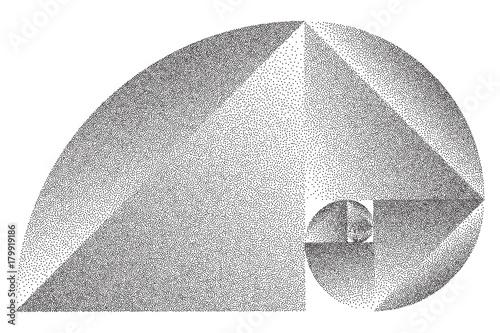 Fotografie, Obraz  Stippled Fibonacci Spiral - Vector Op Art