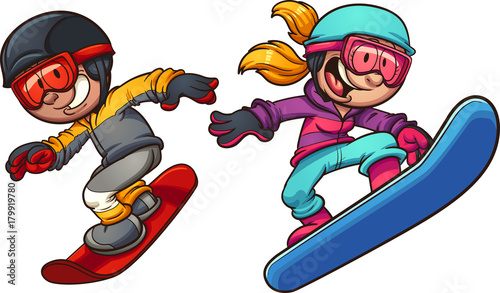 Happy snowboarding kids. Vector clip art illustration with simple gradients. Boy and girl on separate layers.