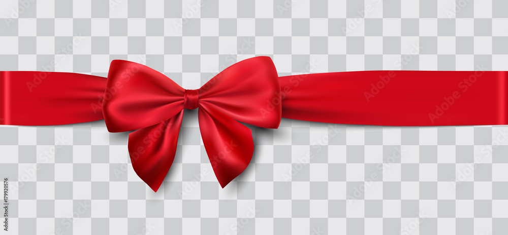 Fototapety, obrazy: red satin ribbon and bow vector illustration