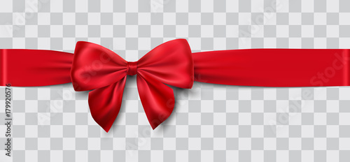 Photo  red satin ribbon and bow vector illustration