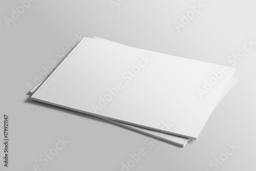 Foto op Aluminium Donkergrijs Blank A4 photorealistic landscape brochure mockup on light grey background.