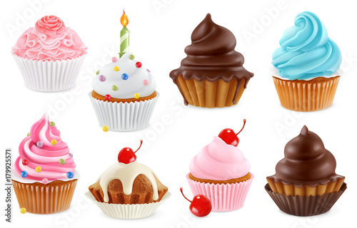Cupcake, fairy cake. 3d realistic vector icon set Wallpaper Mural